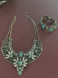 BEAUTIFUL TURQUOIS NECKLACE AND BRACELETT