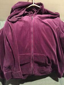 2 Cotton Ginny Velour Jacket & Pant Set Size XL
