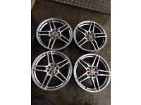 """17"""" WOLFRACE ALLOY WHEELS ASTRA, CORSA, CLIO, MAGANE, CIVIC, FIESTA, FOCUS SET OF 4"""