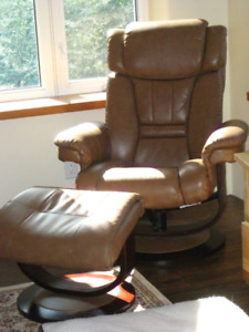 Recliner leather chair and ottoman