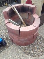 Red fire pit bricks