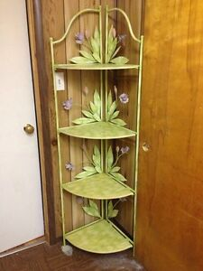 Hand painted corner shelving unit & glass side table night stand