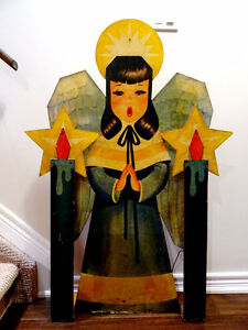"folk art 1960s CHRISTMAS wood angel caroller YARD Victorian 45""H"