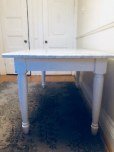 Williams Sonoma Marble Wood Kitchen Island Table Commercial