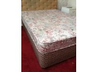 DOUBLE DIVAN BED AND MATTRESS + HEADBOARD - CAN DELIVER