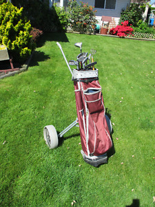 Mens  Jazz golf clubs with bag and cart