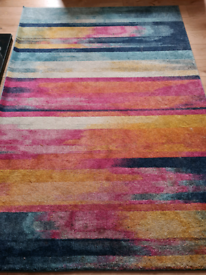 Nova multi stripe rug pink turquoise mustard