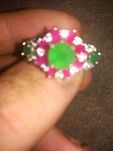 Natural Emerald and Ruby with white Sapphire set in fine 925