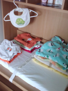 Baby boy clothing sizes range 3-12months and sheets