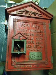 ANTIQUE 1910 ALL ORIGINAL FIRE ALARM BOX MILVERTON GLEBEMOUNT