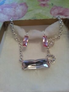 Sterling Silver Pink Earrings and Necklace set  - NEW