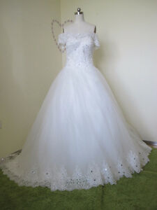 Elegant Ball Gown Tulle&Satin Off Shoulder Sequins Beading&Crys