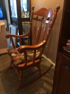 antique rocking chair, solid wood