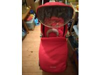 MacLaren Techno XLR Stroller Persian Red with Carry Cot/Rain Cover and Buggy Board