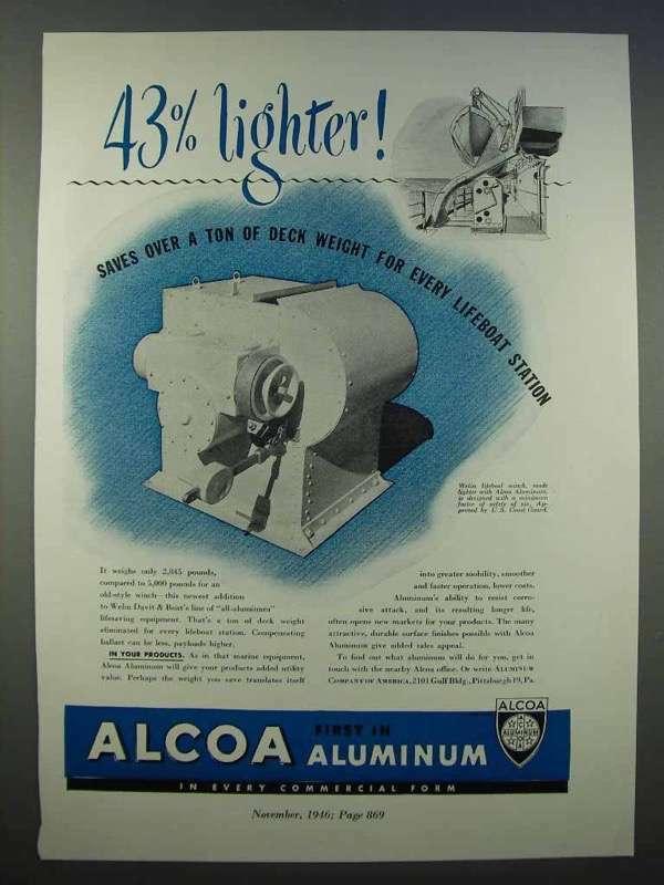 1946 Alcoa Aluminum Ad - 43% Lighter