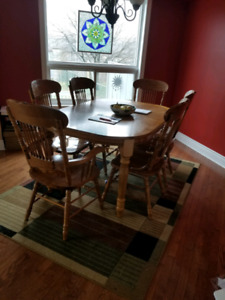 Wood Table With 6 Chairs And Leaf Well Loved But Still Good C