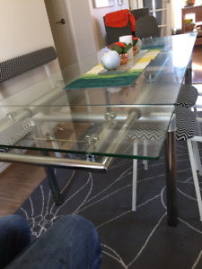 Dining Room Table, Structube Chrome and Glass