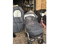 Silver cross Pram with footmuff and full rain cover