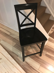 Counter Height Dining Chair - Black Rubbed Finish