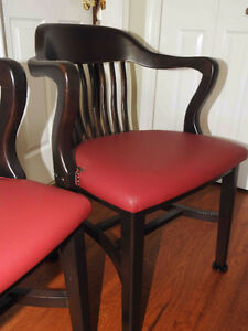2 identical Krug antique vintage office chairs burgundy leather