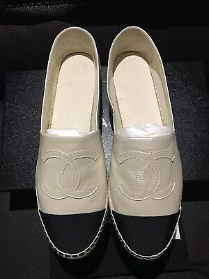 CHANEL Black Ivory Pearl Calfskin Leather Black Cap CC Espadrilles Loafers Flats