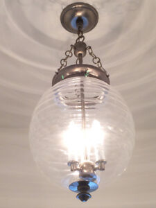 Large Globe Pendant Glass Chandelier Light Nickel Finish