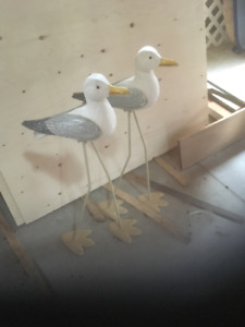 "Folk Art Seagulls 28"" tall pair"