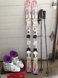 Girls kids skis with poles and boots