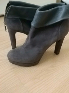 Italian made suede and leather high heeled booties