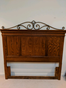 Solid Wood Headboard and Side Table Set