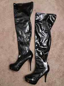 Tilly Shoes London Vinyl Thigh High Stiletto Boots