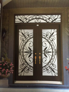 Glass inserts for exterior doors Stained glass wrought iron