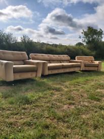 Mid century vintage retro sofa and 2 swivel chairs