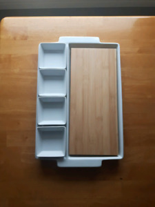Porcelain & Bamboo Serving Tray