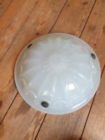 1930s White vintage glass light shade