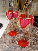 Wine glasses for sale for Valentines Day.