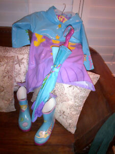 A Lovely Mermaid Raincoat with matching Boots & Umbrella MINT!
