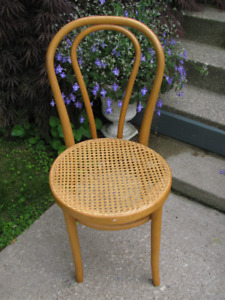 Thonet style chair - blonde bentwood chair with cane seat