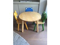 Pintoy wooden kids table + 3 chairs