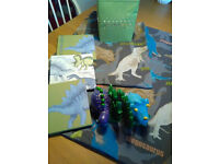Dinosaurs single cover set and matching lamp shade, book stands and 3 pictures.