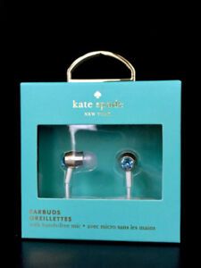 EARBUDS / EARPHONES + hands-free mic by Kate Spade **BRAND NEW**