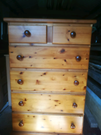Solid pine chest of drawers very good condition collection only