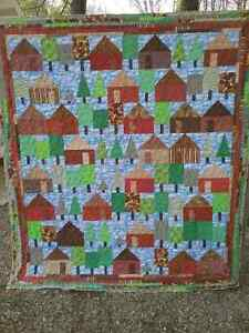JUST REDUCED--Locally made Quilt   'Cabin in the Woods'