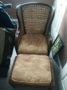 Wicker Chair and ottoman
