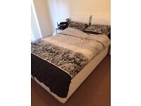 Luxury white leather double bed with mattress