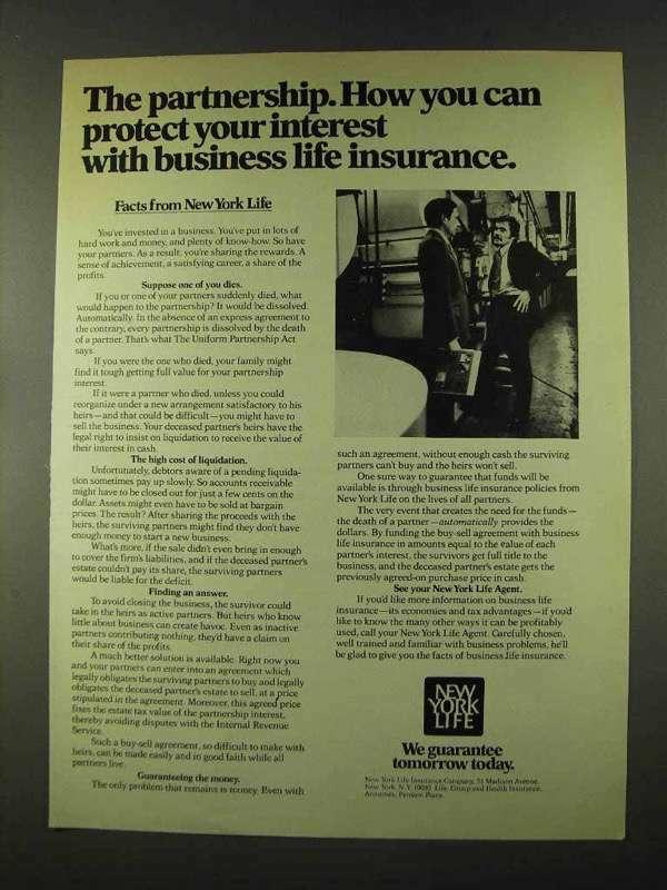 1973 New York Life Insurance Ad - The Partnership