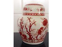 Coalport Indian Tree coral ginger jar