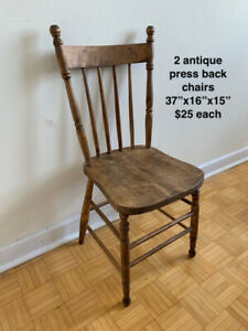 Pair of antique press-back chairs