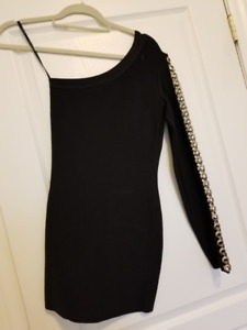 MARCIANO bandage black one shoulder dress size xs