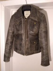 NEW Women's JACOB Brown Distressed Leather Motorcycle Jacket